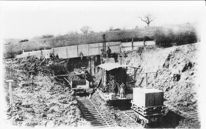 Building the railway at Wickford, c.1880.