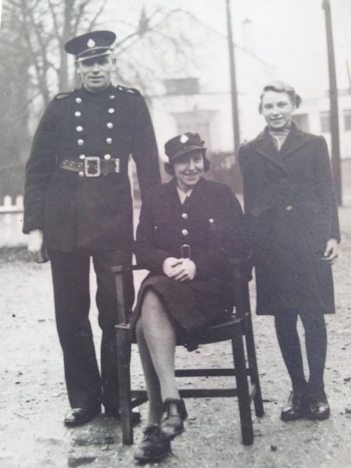 Fireman Samuel John Wright, Fire Woman Ethel Florence Wright and twelve year old daughter, Doreen Wright. Taken outside fire station, 1943. | Trevor Williams