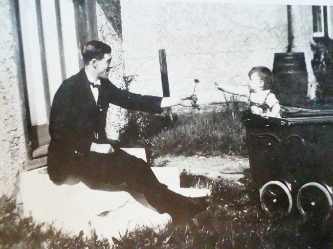 Approx 1930 Grandad (Maurice Taylor) handing a flower to my Mum (Jennifer Taylor) taken in Wick Lane Wickford.