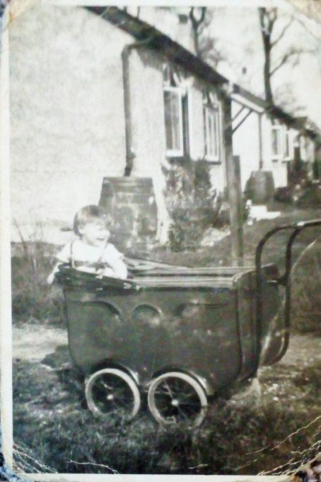 Approx 1930 Mum in her pram  - Jennifer Taylor taken in Wick Lane Wickford