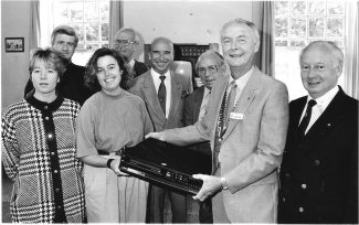 September 1989. A video player presented to Westcliff ward at Runwell Hospital. | Echo newspaper.
