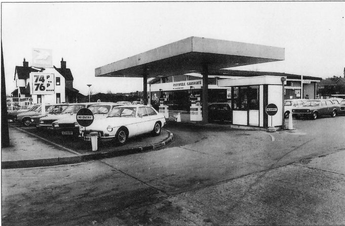 Runwell Garages in the early 1970s. (Note the price of fuels).