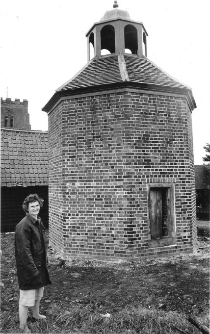 Rosemund Owens, Parish Clerk of South Hanningfield, outside the dovecote in June 1991. | The 'Echo' archive.