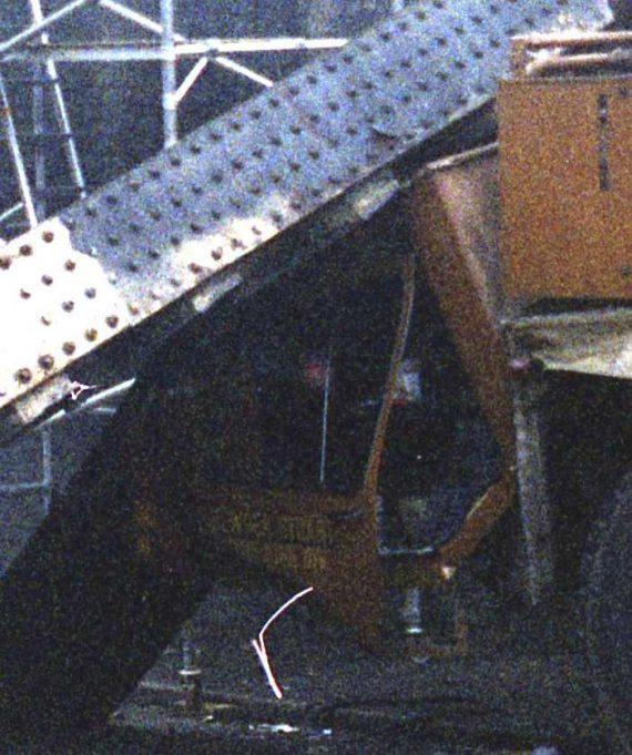 Close up of damage to the driving cab of the crane | John Fuller