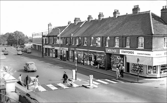 The Broadway 1965 | These photographs of the same area of Wickford covering a long period of time show both large changes and, surprisingly in some of the detail, very little change.    The pedestrian crossing outside the Swan appears to have been built somewhere between 1955 and 1960.    This crossing is quite significant to me as this was the site of my first car accident, in around 1963.  I stopped at the crossing in my Austin Somerset to allow people to cross.  The person behind me decided not to stop!  The accident was witnessed by two Police Constables standing outside the Swan, both said, although looking straight at me, they had not seen the accident!  Fortunately the other driver, after saying I had reversed into him, decided he was actually an honest man and agreed it was his fault and he was responsible, so 'paid-up'!