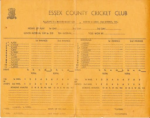Score card for a match in September 1968. | Mike Hill