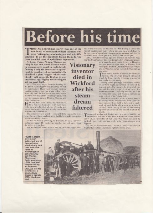 Sidney Darby and DARBY'S of Wickford: article.