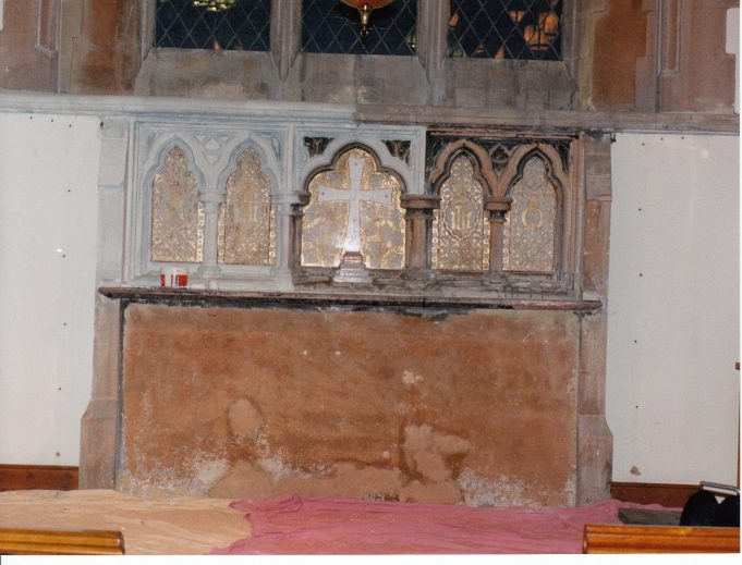 The original altar cleaned after the fire | Downham Church Collection