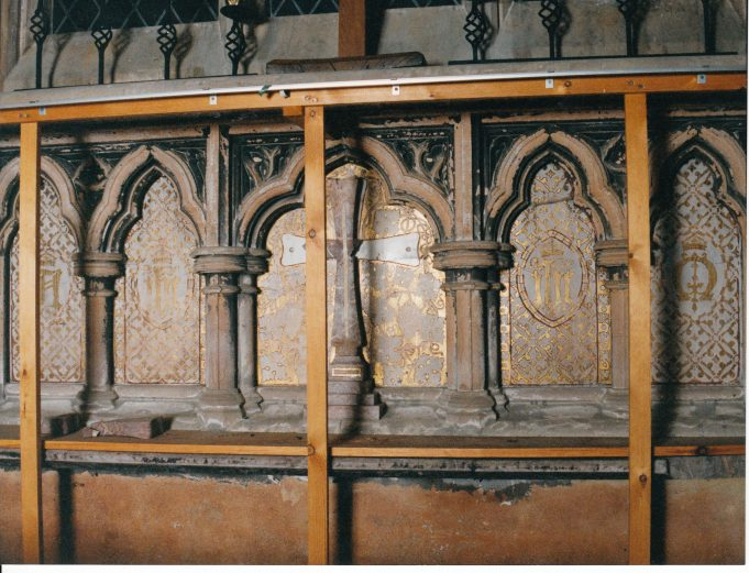 Timber fixed for new altar to be attached | Downham Church Collection