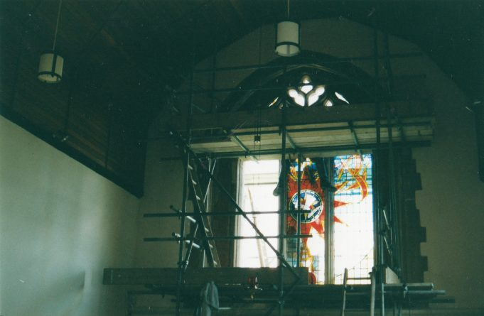 Installing the new windows | Downham Church Collection