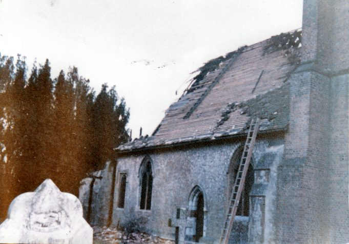 The exterior of the church the day after the fire | Downham Church Collection