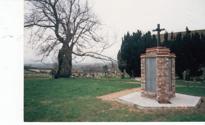 The tree in winter and memorial for those who's ashes have been interred in the churchyard. | Downham Church Collection