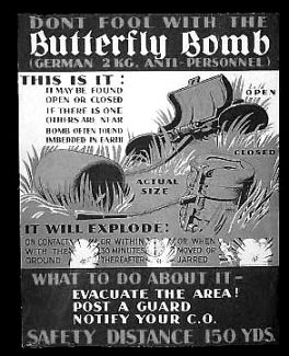 Poster about German Butterfly Bombs.