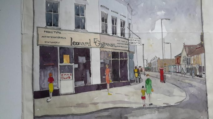 Water colour paintings of scenes in Wickford.