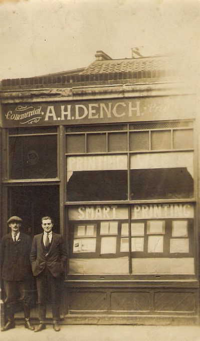 My grandfather and another man outside the premises of A.H.Dench, printers. | Harry Ralph Hodd