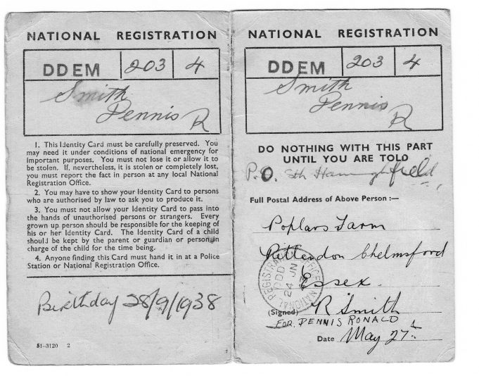 Wartime identity card | Dennis Smith