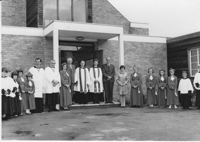 Clergy and members of St. Andrew's outside the church, late 1960s. | Pat Carlson.