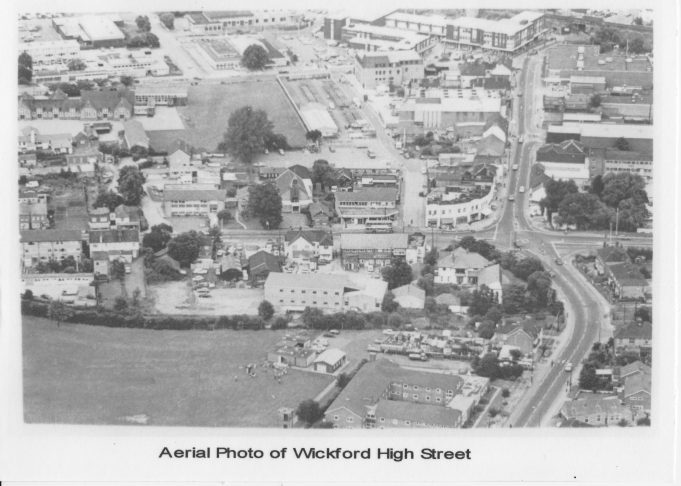 Aerial photograph of Wickford High Street, 1980s.