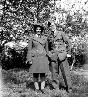 Peter's sister Joan in Women's Land Army uniform and Peter's brother George in RAF pilot's uniform, 1941