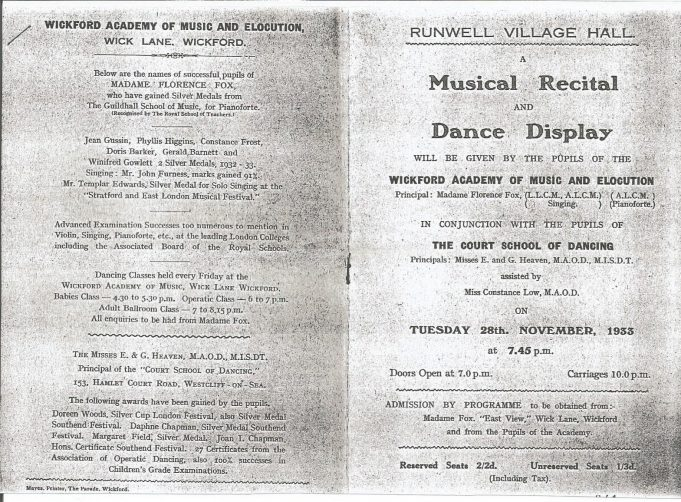 Copy of programme for a performance put on by the Academy in November 1933.. | Don Hill