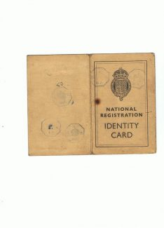 Outer cover of Lorraine Taylor's wartime ID card
