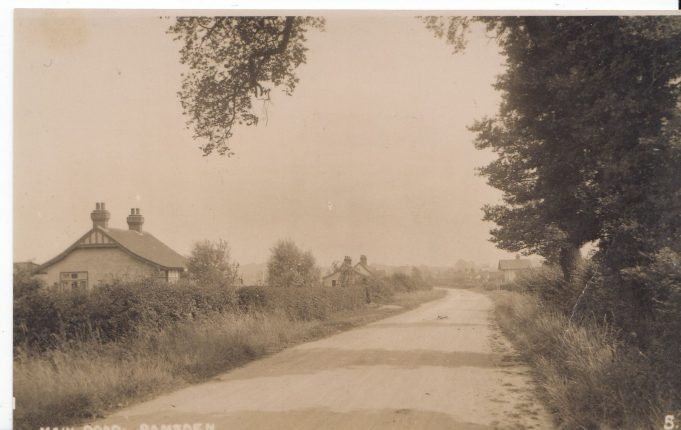 Church Road, looking from the Church towards the shop. The Chalet on the right