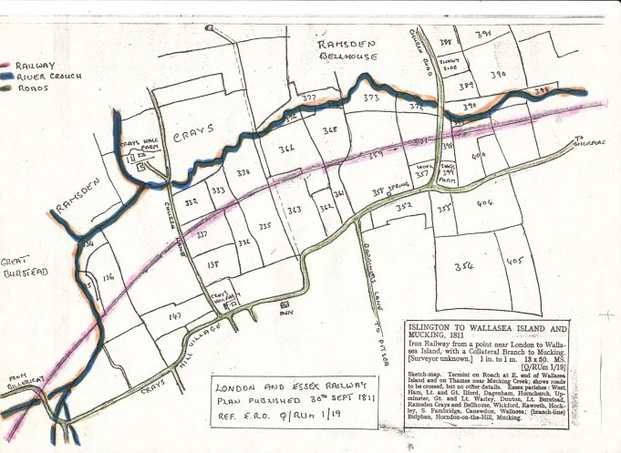 Map showing route of the Iron Railway through Ramsden Bellhouse | Isabel Johnson
