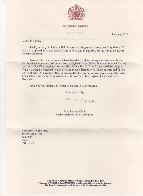 Letter from Royal Archives 2015 | Geoff Whiter