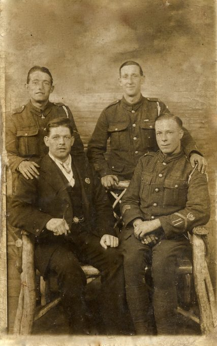 Charlie Simpson, front right, 3 unknowns WW1