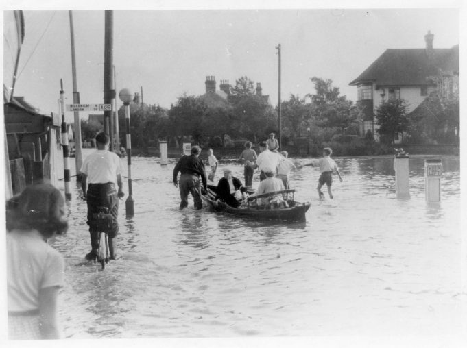 This is a photo of the boats being towed across Hall's Corner but sadly not of David and Tich | Basildon Heritage