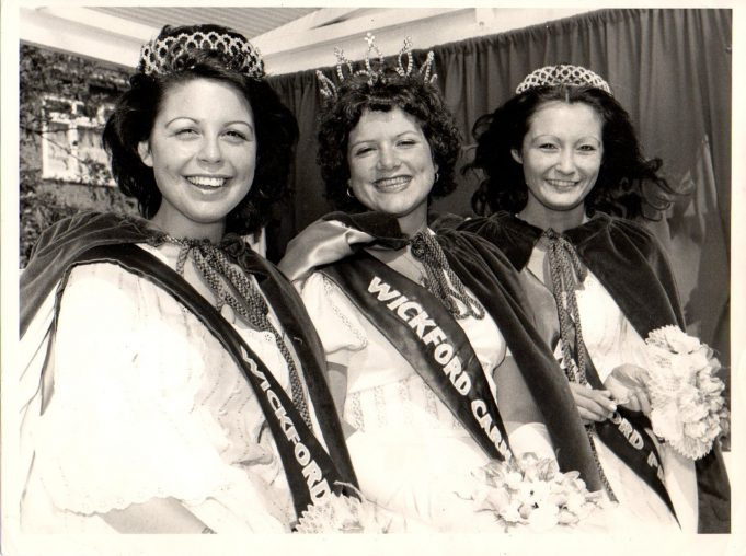 Diana Dagg, in the centre of this photograph, was Carnival Queen in 1973.