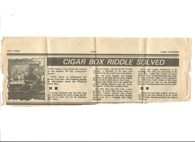 Wickford Cigar Box circ 1925