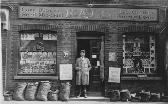 Sidney Hall standing in the doorway of the shop 1930 | donated by Chris Hall