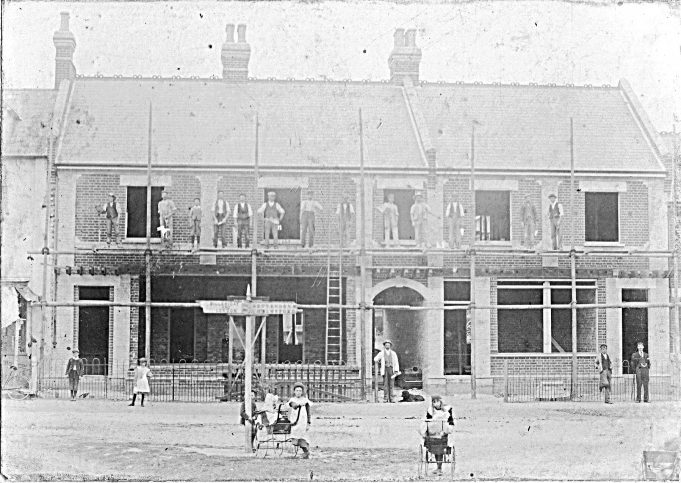 Shops being built 1906