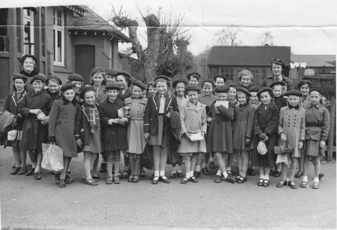 Going to London Zoo c 1955 | Back row from left 2 Rita Willetts, 4 Jill Fountain, 6 Mary Billett, 8 Andrea Scarborough Front row 4 linda Wall, 5Linda Drain, 6 Valerie Hones, 11 Pat Carter, 12 Pauline Getting Mrs Scarborough and helper Mrs W Gill