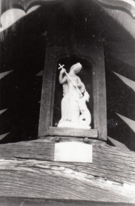 The statue over the porch | Downham Church Collection