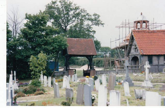 The dovecote being built as seen from the church | Downham Church Collection