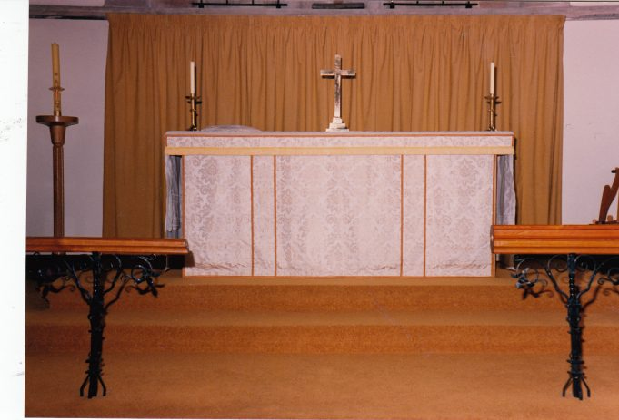 The new altar curtains closed | Downham Church Collection
