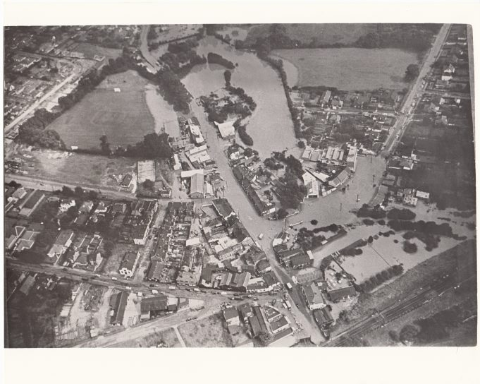 Arial view of 1947 Wickford flood.