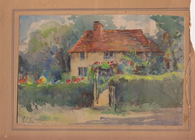A painting of Bretts cottage