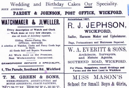 Wickford adverts, 1925