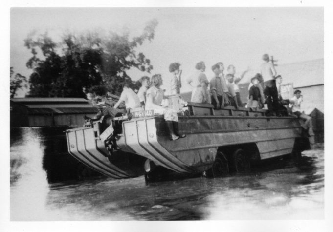 Probably the first community project carried out by Wickford Rotary Club. Two Founder members, Silva Carter and his son, Roy, had recently purchased a DUKW and then used it in the 1958 flood to assist stranded residents.