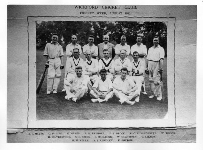 Wickford Cricket Club. August 1932
