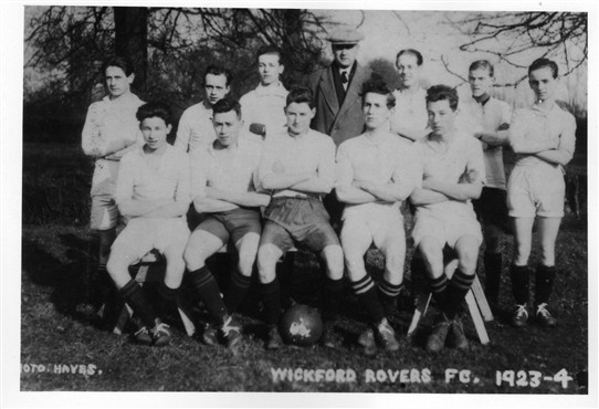 Wickford Rovers, 1923-24.  The man at the rear with a flat cap was a Director of Southend United FC.  The short man standing 2nd left at the back is Mr Silva Carter of Carter and Ward. | From the John Neville Collection
