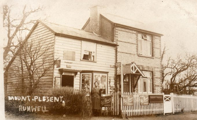 Mount Plesent was pulled down in 1938. The shop and post office were run by Jessie Nock, and shows it as it was c.1910