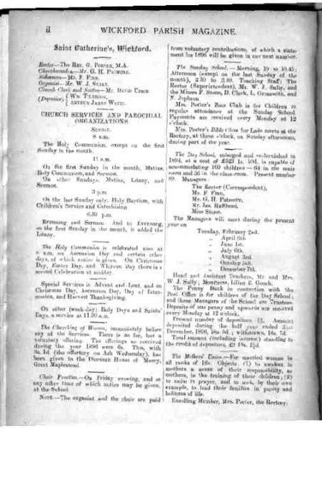 Wickford in 1897 according to the Wickford Parish Magazine