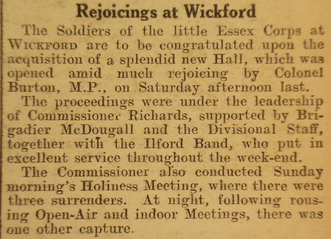 Wickford Salvation Army opened its new hall in 1925