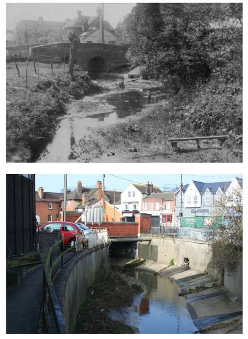The River Crouch under the bridge at the junction of Southend Road with Broadway.   Pete Ostrowski.