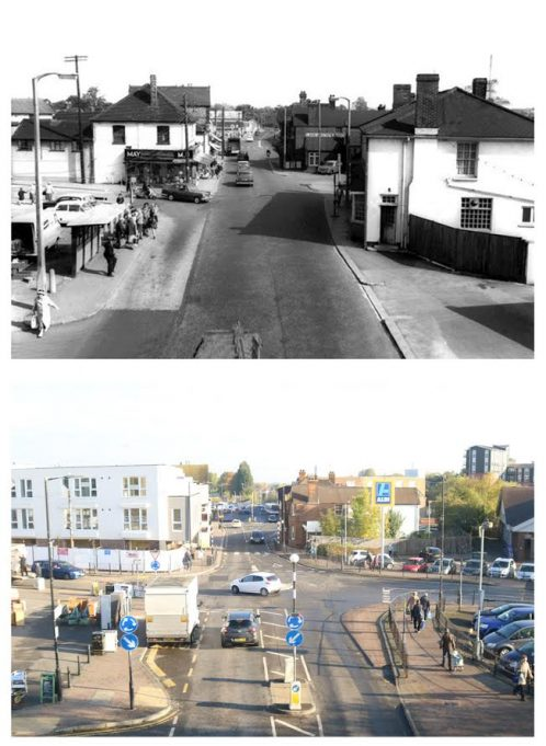 Looking from the railway bridge towards the Broadway, with Aldi now on the right.   Pete Ostrowski.