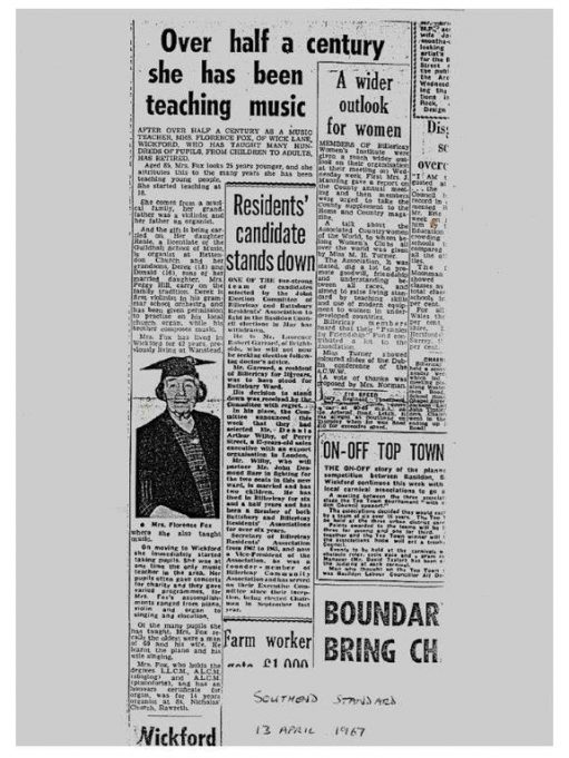 A Southend Standard article about Florence Fox's retirement in 1967. | Don Hill